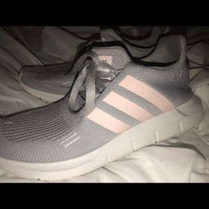 Pink and grey adidas tennis shoes!!!